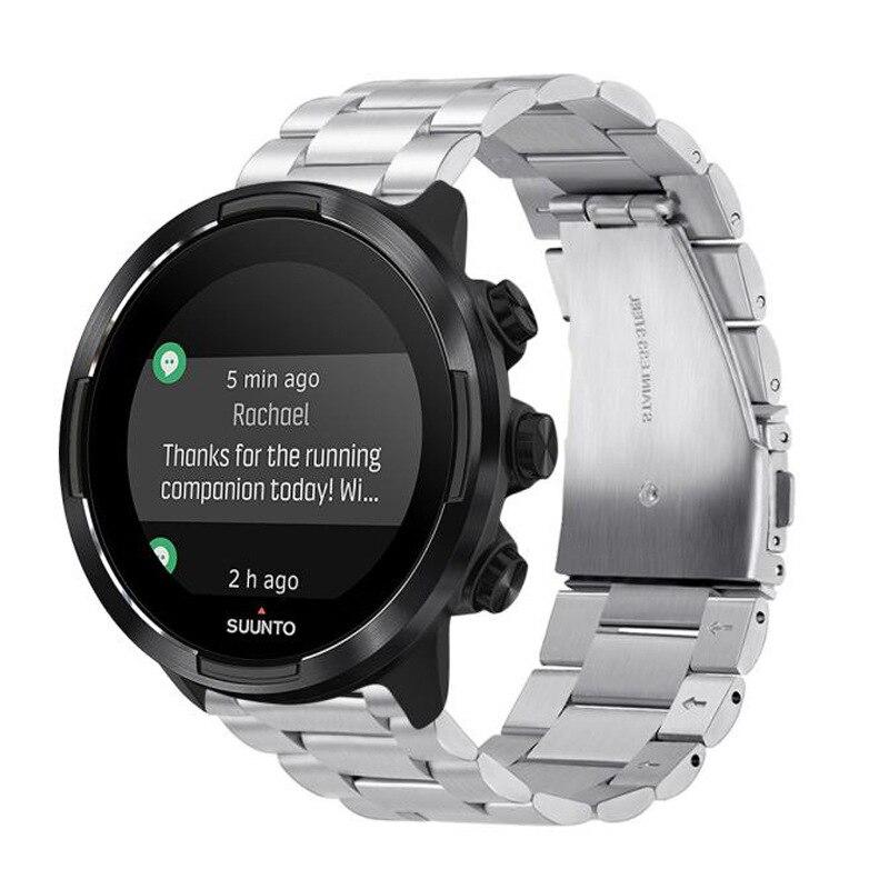24 мм ремешок из нержавеющей стали для Suunto9 Spartan Sport HR Watch Band Suunto 9 Baro Quick Release Strap Rubber ремешок для часов