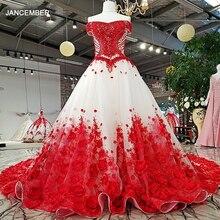 LS37749 2018 a mano di lavoro rosso 3D fiori vestito da partito off spalla ha bordato lace up A Line del vestito per la cerimonia nuziale del partito reale come le immagini