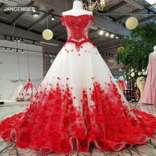 LS37749 2018 hand working red 3D flowers party dress off shoulder beaded lace up A line dress for wedding party real as pictures