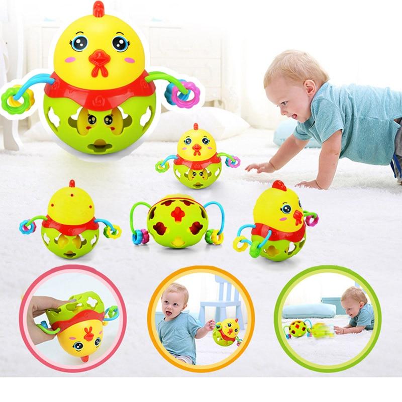 Rainibox 1pcs Plastic Random Color Rattles Handbell Chicken Musical Instrument Shaking Baby Jingle Bell Kid Educational Toy