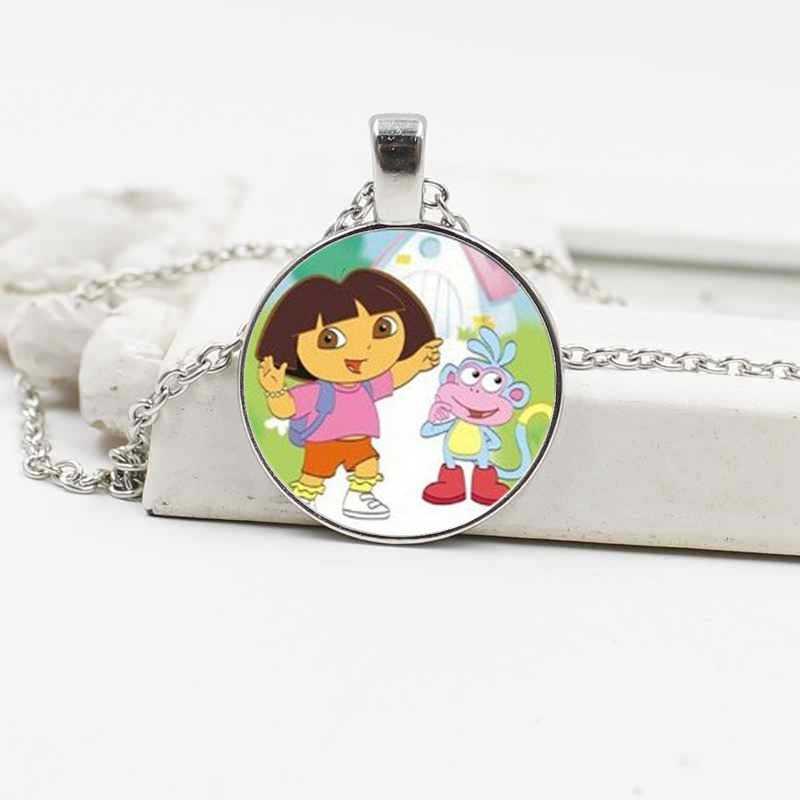 Crianças meninas Bonito Dos Desenhos Animados Dora Explorador de Cristal Colar Da Liga Jóias Acessórios