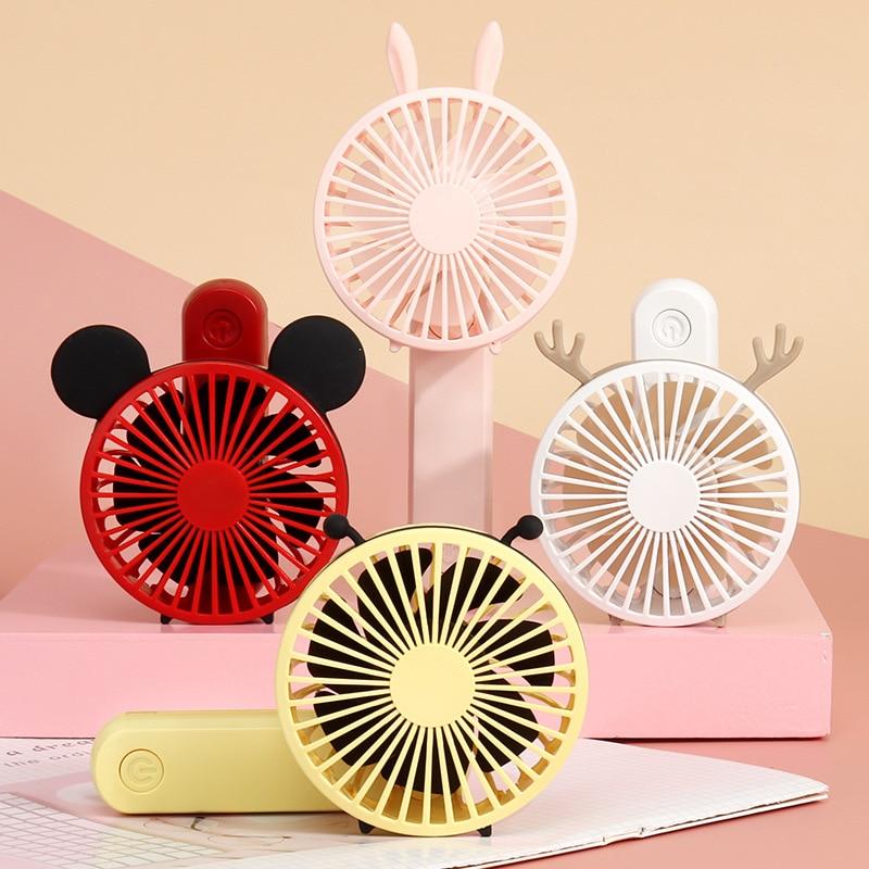 Cute Mini USB Fan Ventilation Foldable Handheld Cooling Fan 180 Degree Rotating Adjustable 3 Speed Office Travel Fan Kids Toys