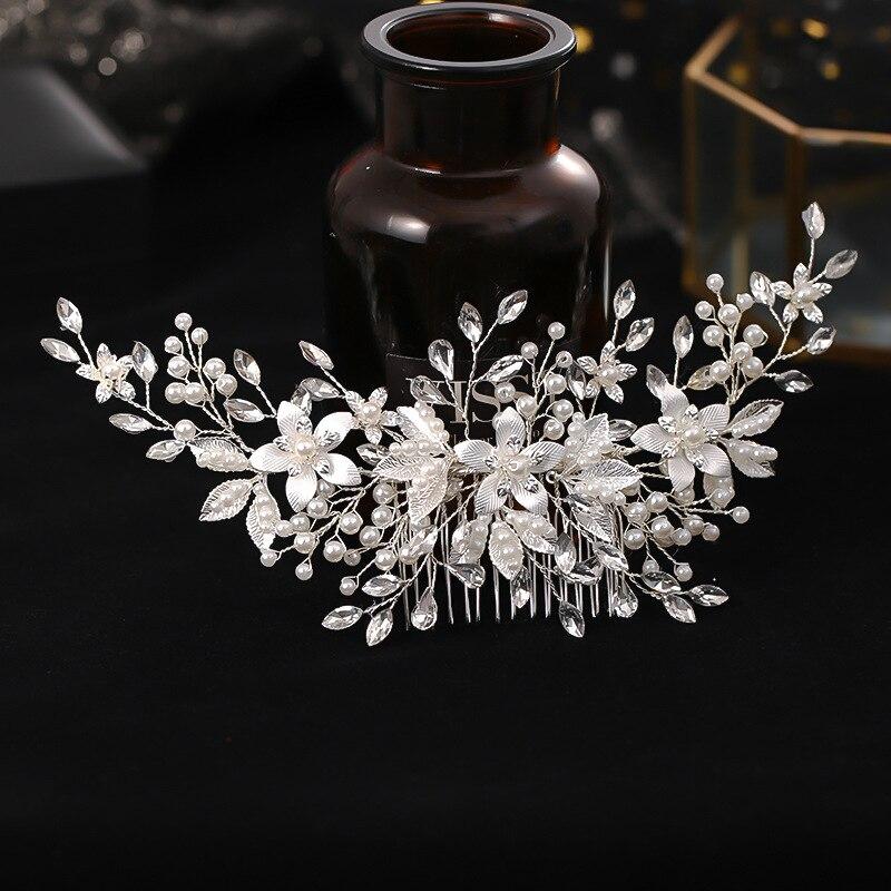 FORSEVEN Luxury Handmade Silver Color Flower Women Comb Alloy Imitation Pearl Hair Comb Bridal Wedding Headdress Jewelry JL