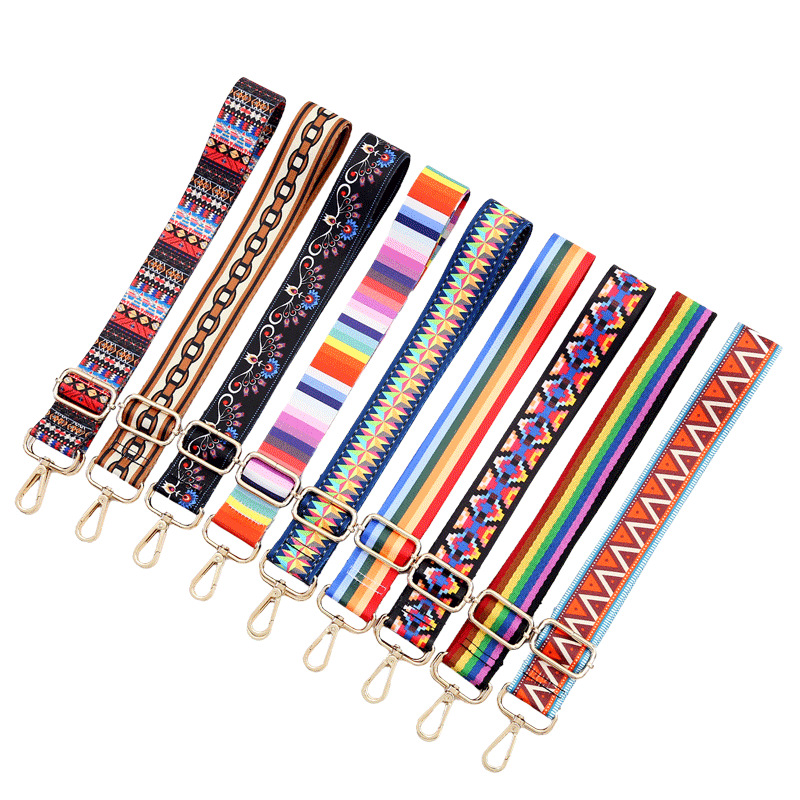 140 Cm Handle Women's Belt Bag Straps Removable DIY Shoulder Rainbow Woven Handbag Accessories Cross Body Messenger Nylon Gifts