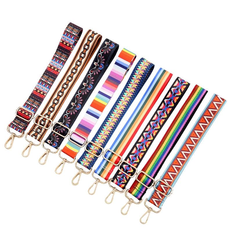 140 Cm Handle Women's Belt Bag Straps Removable DIY Shoulder Rainbow Woven Handbag Accessories Cross Body Messenger Nylon Gifts