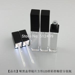 Image 5 - 10/30/50pcs 7.5ml ריק איפור השפתיים DIY בקבוק שחור/כסף כיכר גלוס צינור עם LED אור מראה glair שפתני בקבוק