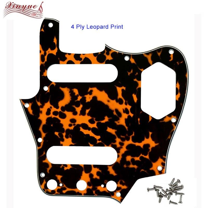 Pleroo Guitar Pickgaurd  For Leopard Print 10 Scwer Holes US Jaguar Guitar Pickguard Scratch Plate Guitar Parts