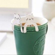 Кошачья ложка с длинной ручкой столовые приборы кофейная нержавеющая сталь питьевые инструменты чашки аксессуары ложки креативная кофейная ложка
