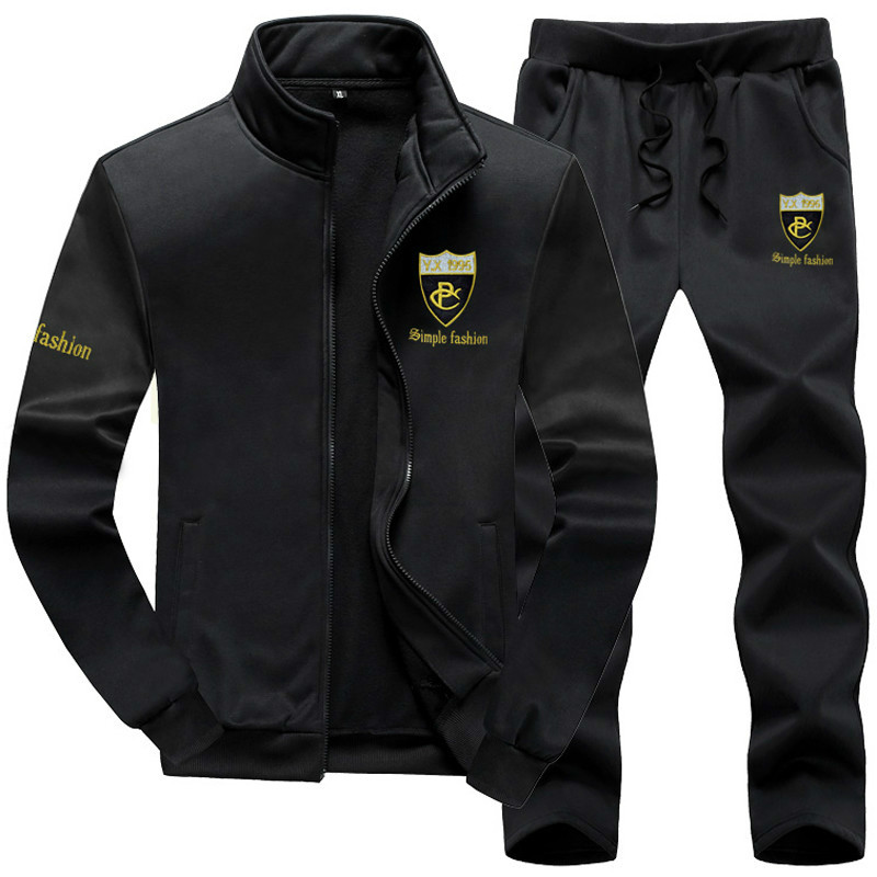 Tracksuit Men Plus Size Brand Men Set Fashion Sporting Suit Sweatshirt +Sweatpants Mens Clothing Slim Male Tracksuit Hooded 2019