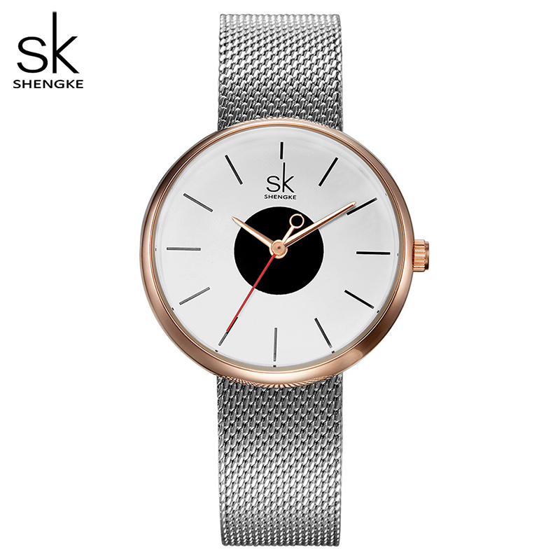 Shengke New Fashion Brand Women Causal Wrist Watches Mesh Belt Mix Match Luxury Female Dress Quartz Clock Ladies Wristwatch 2017
