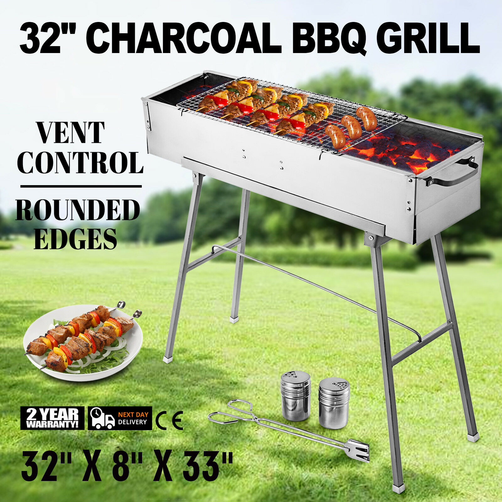 Party Griller 32 Stainless Steel Charcoal Grill Yakitori BBQ Garden Lamb Kebab Stainless Steel Barbecue Gas Grill