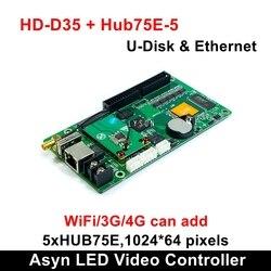 Huidu HD-D35 асинхронный полноцветный светодиодный видеоконтроль поддержка 1024*64 пикселей умная Настройка работа с модулем P2 P3 P4 P5