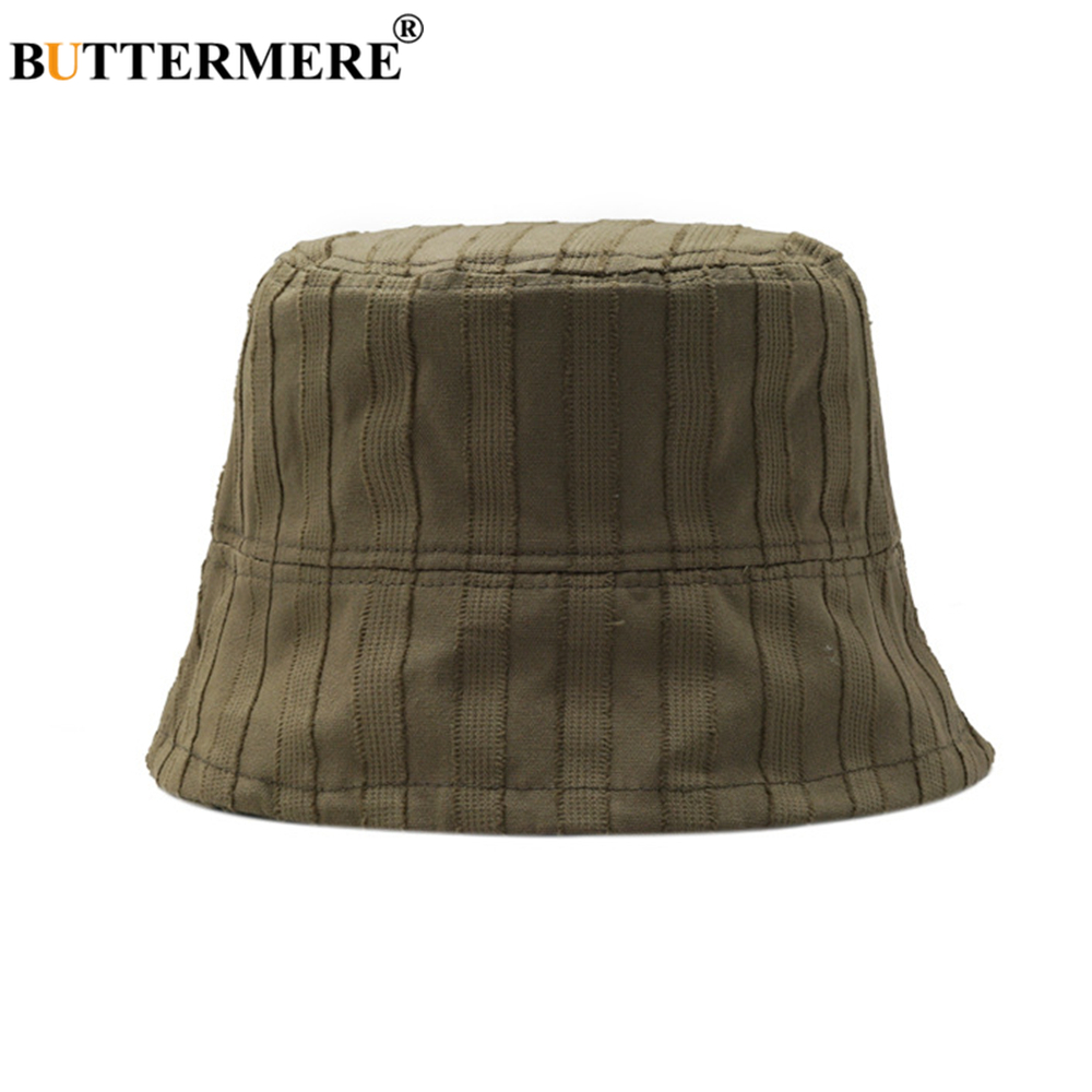 BUTTERMERE Bucket Hat Womens Men Harajuku Japanese Style Fishing Hat Army Green Striped Casual Unisex Sun Protector Hat