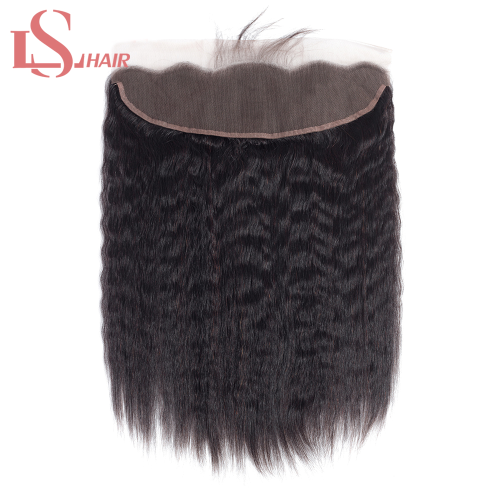 LS HAIR Brazilian Kinky Straight 13*4 Lace Frontal Closure With Baby Hair Pre-Plucked Remy 100% Human Hair Lace Closure