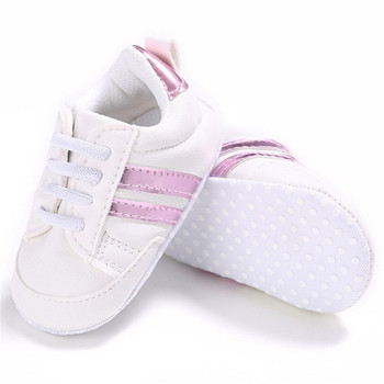 2020 Baby Shoes Newborn Boys Girls Two Striped First Walkers Kids Toddlers Lace Up PU Leather Soft Soles Sneakers 0-18 Months - 05, 0-6 Months
