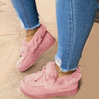 Новинка, модная женская зимняя обувь из хлопка, плюшевые теплые зимние сапоги, женские повседневные короткие сапоги на плоской подошве, одн...