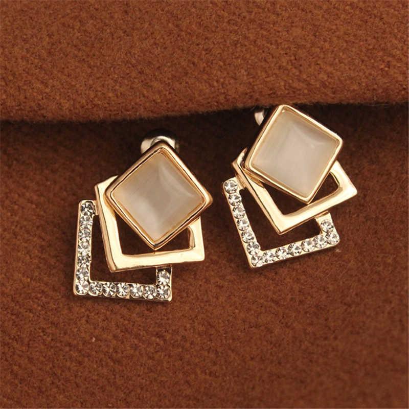 Pendientes llamativos dorados, 2020, rombos, geométricos, austriacos, pendientes de forma cuadrada de cristal, joyería para mujer, pendientes de fiesta