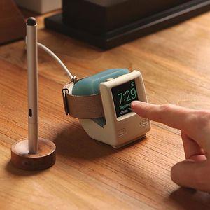 Image 2 - لساعة أبل 2345 جيل سيليكون ريترو شحن حامل Iwatch ساعة ذكية S6 قاعدة شحن الكمبيوتر الكلاسيكية العالمية