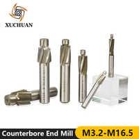 1pc M3.2-M16.5 HSS Counterbore End Mill CNC Machine Router Bit 4 Flutes Engraving Bit Counterbore Milling Cutter