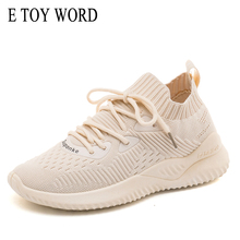 E TOY WORD Flying woven elastic socks shoes female spring autumn breathable leisure sports small white light running