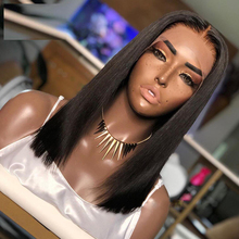 Human-Hair-Wigs Silk-Base Black with for Women Hairline Brazilian-Hair PU Lace-Front