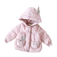 Children Baby Girl Down Cotton Coat Winter Kids Pure Color Thicken Thermal Outerwear Newborn Overcoat Toddler Hooded Snow Wear