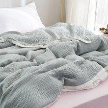 Couverture de sieste d'été en coton Super respirant, couette de serviette de gaze de bordure blanche de couleur unie couverture simple Double pour enfants et adultes