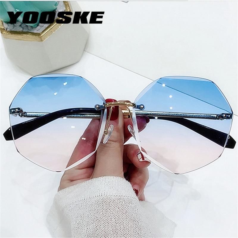 YOOSKE Rimless Women's Sunglasses Fashion Gradient Lenses Sun glasses Lady Vintage Alloy Legs Classic Designer Shades UV400