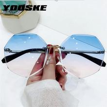 YOOSKE Rimless damskie okulary przeciwsłoneczne moda soczewki gradientowe okulary przeciwsłoneczne Lady Vintage zauszniki ze stopu klasyczne osłony przeciwsłoneczne od projektantów UV400 tanie tanio CN (pochodzenie) WOMEN Z poliwęglanu Bez oprawek Dla osób dorosłych NONE MIRROR 1428