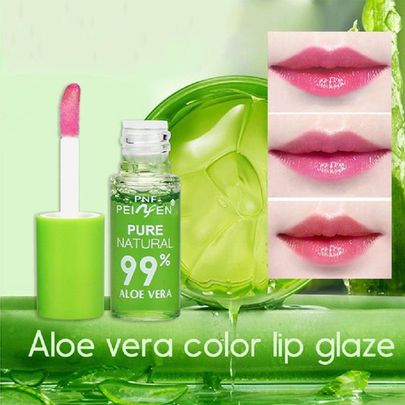 1 Pcs 99% Pure Natural Aloe Lipstick Lip Tint Long Lasting Waterproof Moisturizing Nourish Lip Gloss Changeable Color