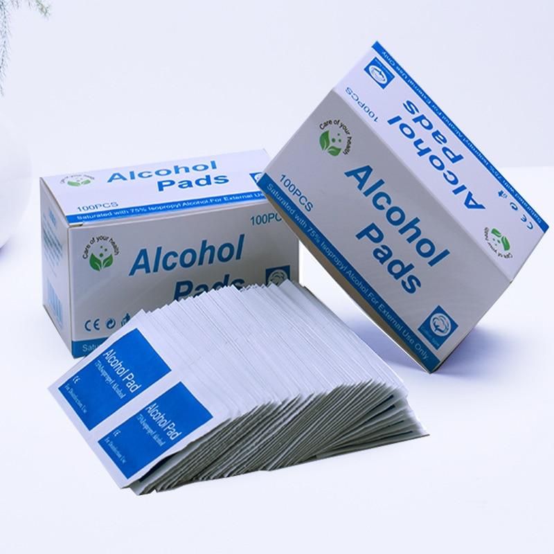 3 PCS 100 Sheets / Box Disposable Alcohol Prep Pads Alcohol Disinfectant Tablets Wounds