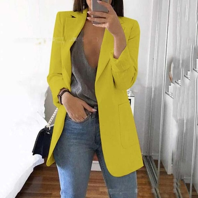Women's Casual Mid Coat Lapel Slim Cardigan Outdoor Work Suit Jackets Open Front Coat Cloak Jackets Female Blusas Chaqueta Mujer