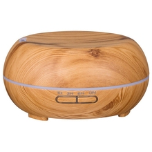 Round Ultrasonic Humidifier 300Ml Mist Maker Aroma Diffuser With Colorful Led Light Wood Grain Aromatherapy Diffuser Machine Eu 300ml colorful led timing ultrasonic wood grain base aromatherapy machine air humidifier aerosol dispenser diffuser 2 colors