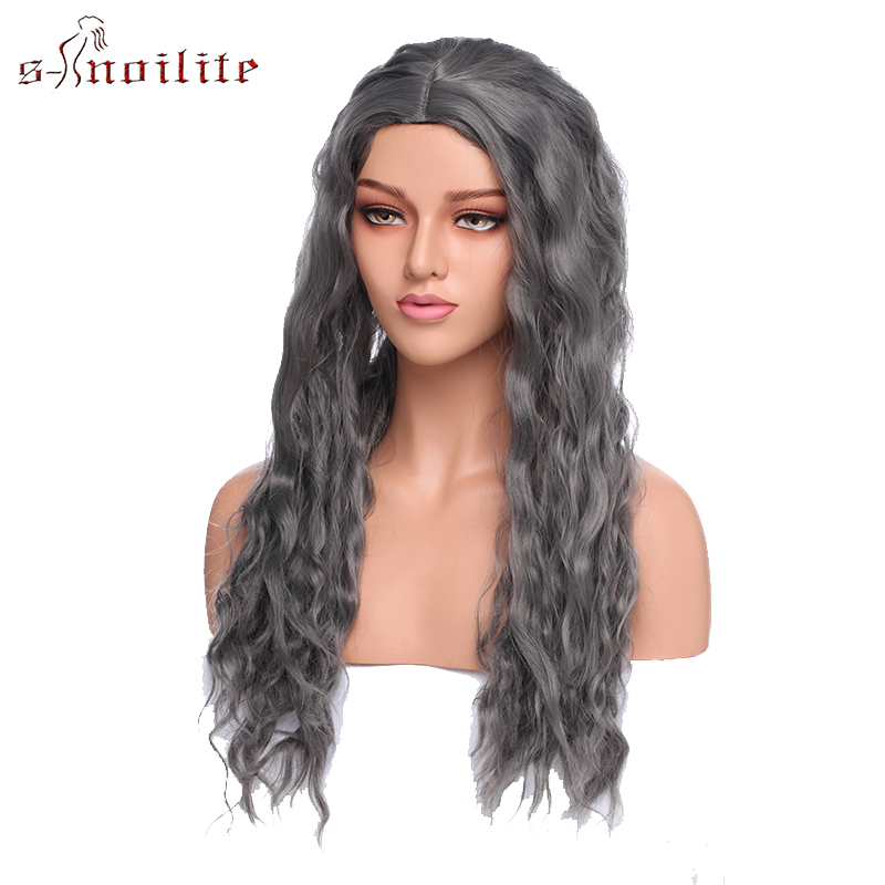 S-noilite Synthetic Wigs Long Curly Wig Heat Resistant Fiber Hair Wig Grey Purple Cosplay Party Wig Natural Part For Women