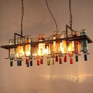 Wine Bottle Iron Pendant Lights Vintage Industrial Metal Hanging Lamps Bar Restaurant Cafe Kitchen indoor led lighting Decor