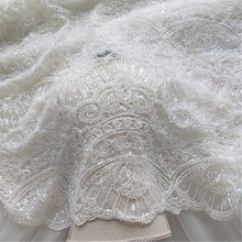 2019 Ivory wedding dress lace fabric material allover beads and sequins heavy! Luxury beading with 1 yard!