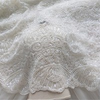 2019 Ivory wedding dress lace fabric material allover beads and sequins heavy! Luxury beading lace Ivory lace with beads 1 yard!