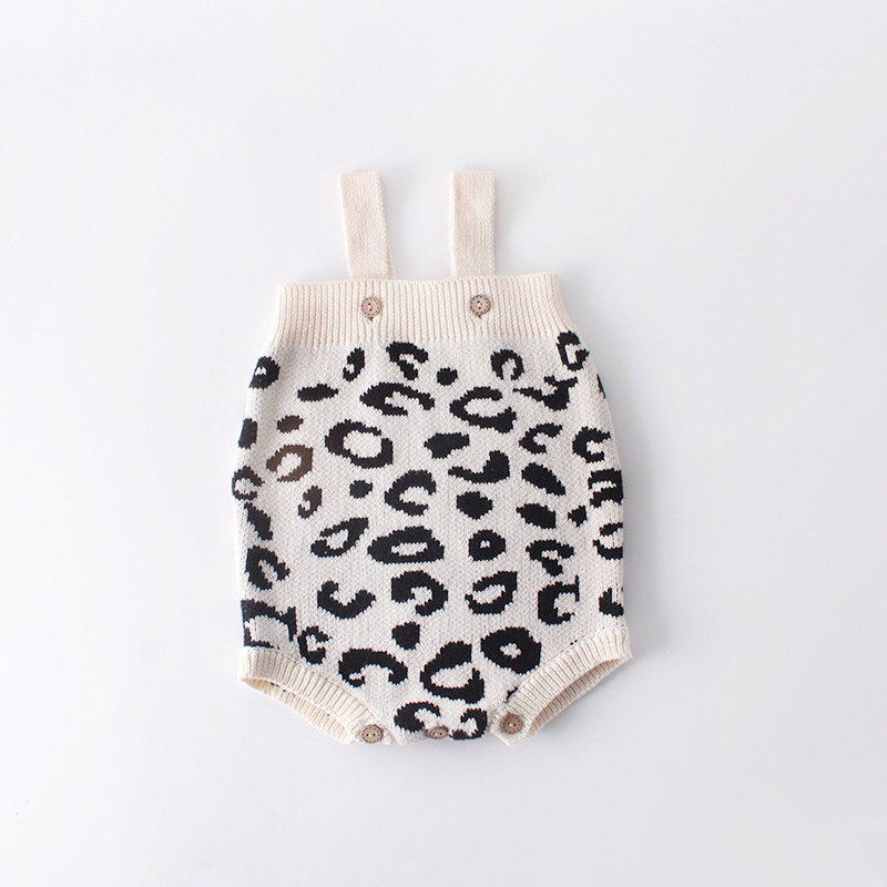New Leopard Baby Girl Romper Cotton Knit Infant Onesie Baby Romper for Girls Jumpsuit Toddler Costume New Born Baby Girl Clothes in Rompers from Mother Kids