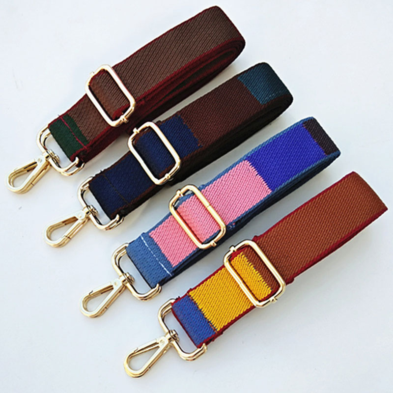 3.8CM Wide Nylon Striped Strap Replacment Shoulder Bag Accessories Women Bag Belt Adjustable Long Handbag Strap Handle