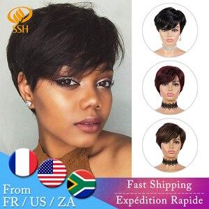 SSH Short Human Hair Wigs Pixie Cut Straight Remy Brazilian Hair for Black Women Machine Made Highlight Color Cheap Glueless Wig