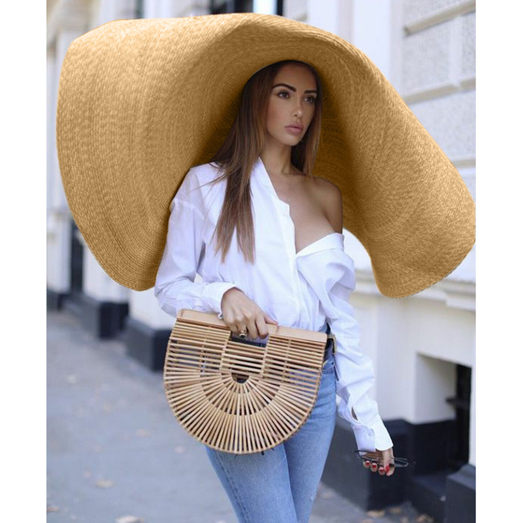 Large Straw Sun Hat Fashion Beach Anti-UV Sun Protection Summer Big Hat For Women Foldable Straw Diameter 90cm D90816