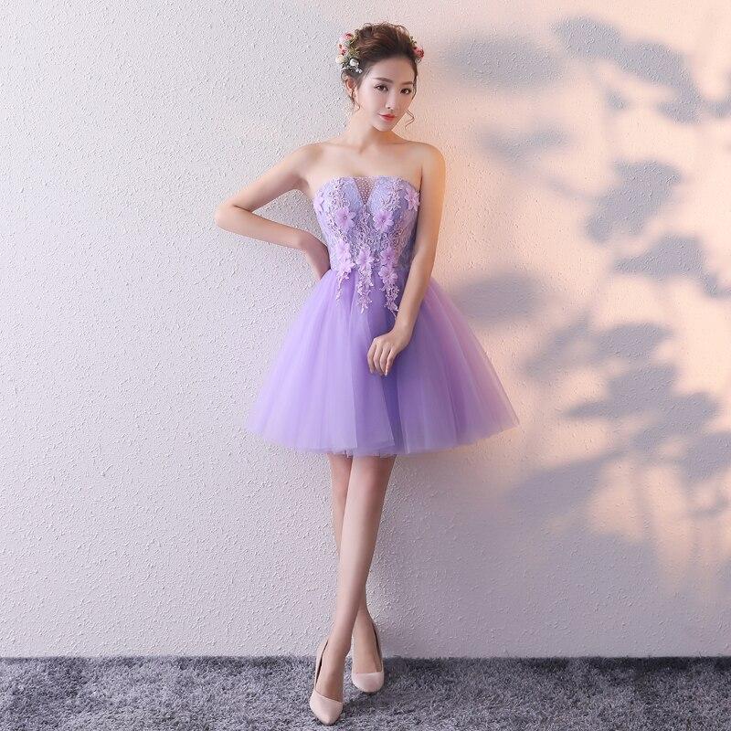 Real Picture Lavender Blue Peach Cocktail Party Gowns A Line Strapless Short Mini Prom Dresses 2020 New Vestidos De Graduacion