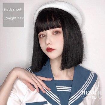 цена на Uwowo Short Straight Black Wig Cosplay Lolita Wigs Heat Resistant Synthetic Hair Anime Party wigs 32cm