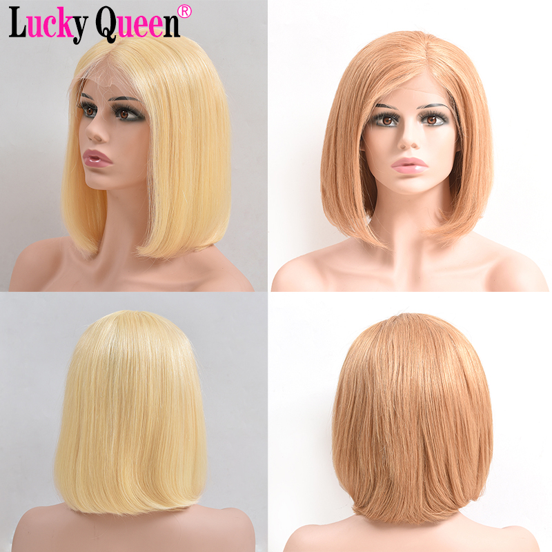 Short Bob Lace Front Wigs Omber 613 Bob Wig Transparent Lace Front Wigs Pre Plucked Lucky Queen Remy Human Hair Wigs