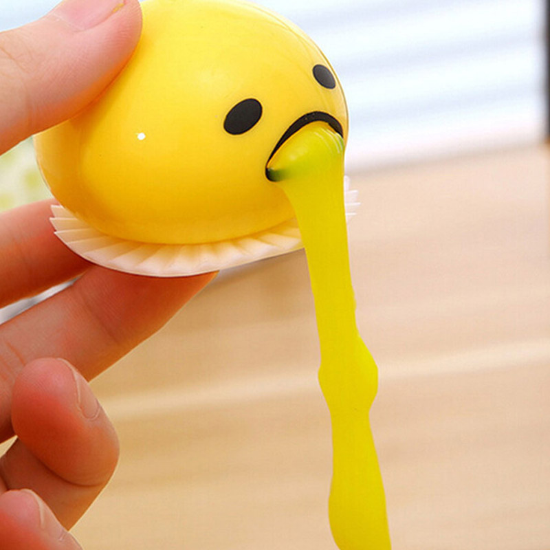 Novelty Gag Toy Practical Jokes Anti stress Vomiting Egg Yolk Lazy Brother Fun Gadget Squeezed Smiley face Creative Gift