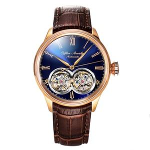 Image 4 - ブランド名のフライホイール自動機械式時計サファイアクリスタル 3ATM ベルトビジネスファッションフライホイールの男性の腕時計