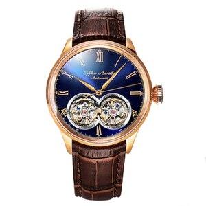 Image 4 - Marka adı çift volan otomatik mekanik saatler safir kristal 3ATM kemer iş moda volan erkek kol saati