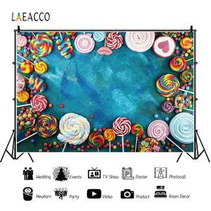 Image 3 - Laeacco Lollipop Candy Bar Dessert Donut Baby Birthday Photography Backdrops Customize Photographic Backgrounds For Photo Studio