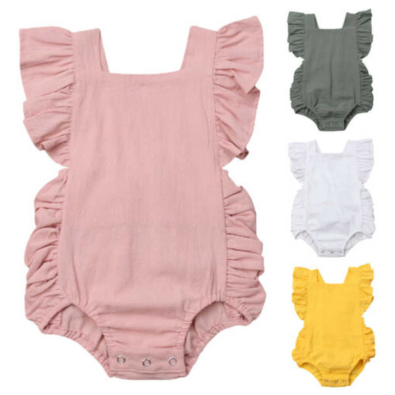 Newborn Baby Girl Solid Romper Summer Clothes 2019 New Sleeveless Blackless Casual Ruffle Cotton Jumpsuit Outfit Sunsuit 0-24M