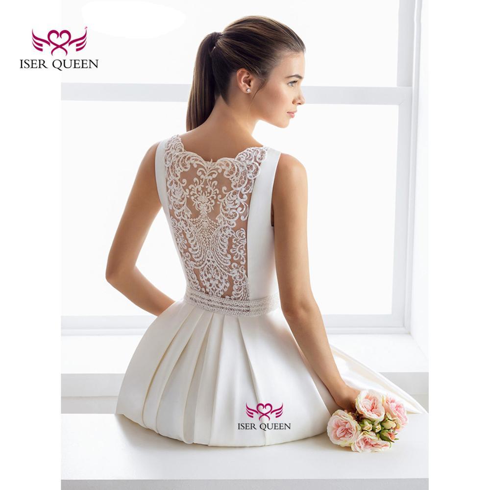 Lustrous Satin Pure White Simple Bride Dresses Sleeveless Delicate Embroidery Wedding Dress 2020 Vestido De Gala Noche W0552